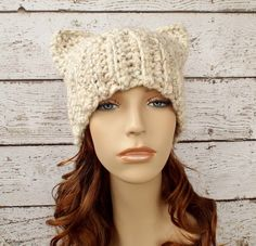 Crochet Hat Womens Hat Winter Hat - Cat Beanie Hat in Wheat Tweed Crochet Hat - Winter Accessories Womens Accessories by pixiebell on Etsy