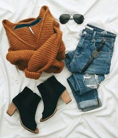 Orange Sweater and Jeans with Black Ankle Boot Heels