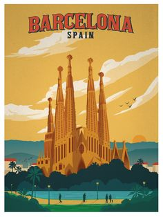 Barcelona Spain Retro Poster Also buy this artwork on wall prints apparel stickers and more. City Poster, Poster Art, Kunst Poster, Art Posters, Pin Ups Vintage, Photo Vintage, Vintage Art, Vintage Travel Posters, Vintage Postcards