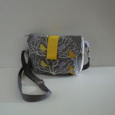 Gray & Yellow Birds Mini Messenger Purse by knappies on Etsy
