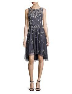 sleeveless-embroidered-a-line-dress,-gunmetal by aidan-mattox. #fashion #style #stylish #fashiontrend #awesome #shoptagr