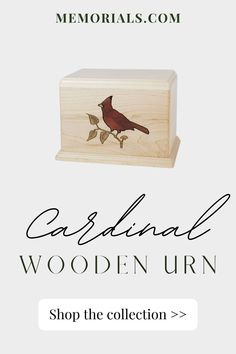 The Cardinal Wood Cremation Urn is made from solid maple wood. This piece incorporates the ancient art of Marquetry in which many tiny pieces of exotic hardwood are inlaid to create a memorable picture. There is no paint on this urn!Bottom opening panel attaches with screws. Memorial Urns, Memorial Ideas, Funeral Memorial, Pet Cremation Urns, Keepsake Urns, Pet Urns, Marquetry, Block Lettering, Ancient Art