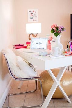 Gorgeous Vibrant And Modern Desk Decor Idea For A Girlboss Home Office. Pink And White With Gold Accents And A Acryl Chair For A Modern Room.
