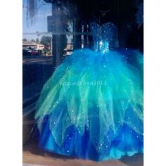 Fantasy Ball Gown | Dresses | Pinterest ❤ liked on Polyvore featuring dresses, gowns, blue gown, blue evening gown, blue evening dresses, blue dress and blue ball gown