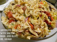 Sartori Antipasto Salad  1 lb. Bowtie pasta  1/2 bottle Balsamic Vinaigrette 6 oz.  Sartori® Basil & Olive Oil Asiago cheese, cubed 1/2 red bell pepper, diced 1/2 orange bell pepper, diced 1 bunch green onions, chopped 1 pint grape tomatoes 8 oz. summer sausage, cubed 2 Tablespoons garlic, minced Cook pasta according to package directions.  Rinse & cool. Combine all ingredients in bowl & mix thoroughly.  Add more dressing if necessary.