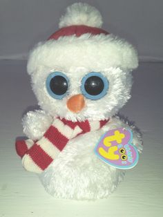 "Ty Scoops Snowman Toy White Blue Eyes Red Hat Scarf Soft Plush Beanie Boo 7"" NEW - Other"