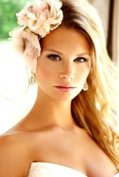 Bride's long down hair bridal hair Toni Kami Wedding Hairstyles ♥ ❷ Wedding hairstyle ideas with side flowers