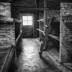 Inside a brick prisoners barrack. Such barracks were the first buildings at the Auschwitz II-Birkenau camp. /  (Theo van Geenen)