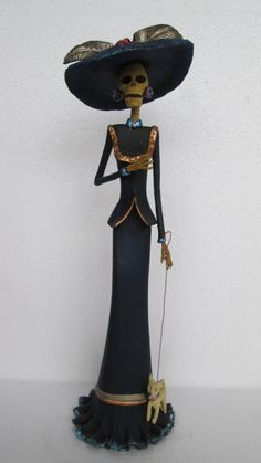 Beautiful CATRINA  with puppy dog  mexican by CatrinaSanMiguel, $35.00