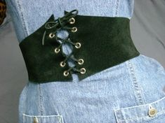 "7"" Handmade Black Suede Leather Corset ElasticCinch Belt Renaissance Pirate Wench Belt"