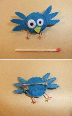 BrocheOiseauBleu by La Bas dans L'herbe. Fabric Birds, Felt Fabric, Denim Crafts, Felt Crafts, Softies, Felt Monster, Barrettes, Felt Birds, Felt Brooch