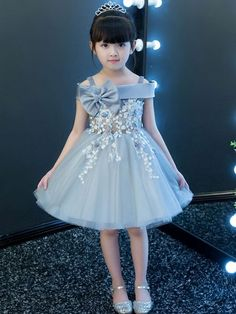 Bow Sashes Lace Flowers Mesh Party Holidays Slash neck Sleeveless Mini Dress – Best Of Likes Share Frocks For Girls, Girls Party Dress, Party Wear Dresses, Little Girl Dresses, Baby Dress, Cute Dresses, Girls Dresses, Dress Anak, Kids Dress Patterns