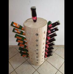 Jede Säule ist ein Unikat  Sie ist weder verleimt noch anderweitig zusammengeflickt,   einfach aus einem Stück!!!  Platz für 65 Flaschen.  Die Bohrungen haben einen Durchmesser von 36...