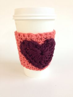 Coffee cozy in peach and maroon - custom order on Etsy, $9.00