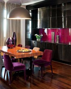 pinkish purple kitchen wall and dining chair upholstery fabric