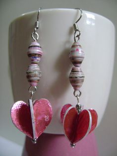Recycled Paper Bead Earrings  Dangling by NightLightCrafts on Etsy, $10.00