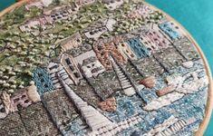 Annie Morris Embroidery Color Printed Linen Panel, KINGSWEAR DEVON