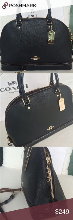 """COACH❤️Black Satchel Leather!! NEW Gorgeous Sierra Satchel from Coach. Chic and trendy!! Patent leather in black and pebble leather. New with tag attached! Fully lined, detachable and adjustable strap.   Store bag included✅  L13.5""""/H9.5/D4.5"""" Coach Bags Shoulder Bags"""