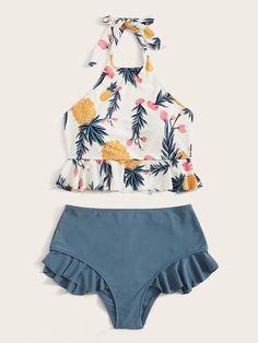 Modest Bikini, Halter Bikini, Bikini Swimwear, Bikini Set, Bathing Suits For Teens, Cute Bathing Suits, Style Surfer, Concept Clothing, Ruffle Swimsuit