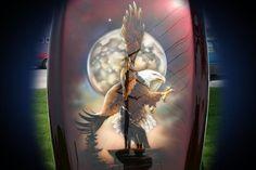 Motorcycle Wildlife Airbrush Art - Full Moon Bald Eagle - Bevin Finlay Custom Tanks, Custom Paint Jobs, Motorcycle Art, Airbrush Art, Vroom Vroom, New Age, Full Moon, Art World, Thunder