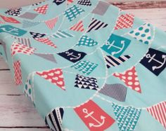 Nautical Bunting Banner Changing Pad Cover