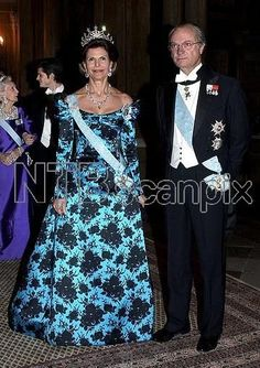 Queen Silvia wore this tiara for the Representatives Dinner in January 2002.