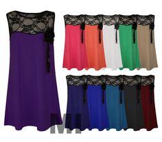 Womens Plus Size Lace Insert Smock Dress Flower Broach Corsage Top Vest 16-22