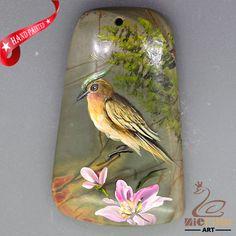 Art Deco Pendant Hand Painted style Bird Necklace Natural Gemstone ZL806490 #ZL #Pendant