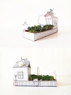 Pflanzschale aus Papier für Kresse / cute paper plant bowl, origami, paperwork made by Parzelle43 via DaWanda.com