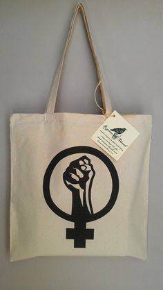 Female Feminist Symbol Fist Cotton Canvas Tote by RavensThread