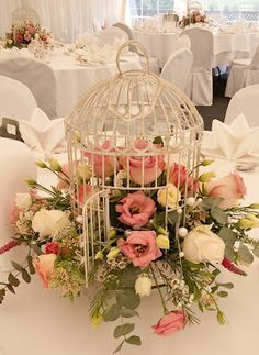 birdcage centerpieces - Great for spring and Easter tables!