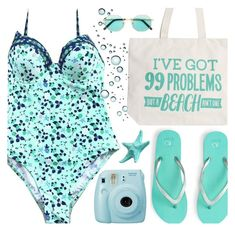 """""""99 problems, but a beach ain't one."""" by oliverab ❤ liked on Polyvore featuring Aéropostale, Sauren, Fujifilm, Summer, beach, turquoise and Cupshe"""