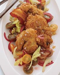 Fried Chicken Liver, Bacon and Tomato Salad