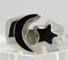 Vintage Sterling Silver Moon & Star Open Wide Band Ring Size 7.5