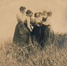 A Gathering___ around 1910 / possibly Scandinavia.  A special day amongst women. Springtime, Engaged? Graduated?