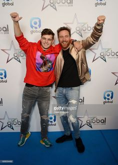 Martin Garrix and David Guetta attend The Global Awards 2018 at Eventim Apollo, Hammersmith on March 2018 in London, England. David Guetta, Dj, Apollo, London England, Awards, Honey, March, Edm Music, Fotografia