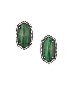 Elsie Stud Earrings in Green Malachite - Kendra Scott Jewelry.