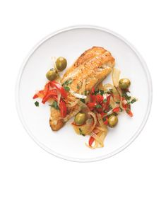 Tilapia With Peppers and Olives Recipe (only 376 calories per serving)