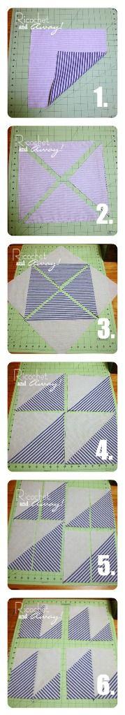 http://ricochetandaway.blogspot.com/2012/02/half-square-triangles-plus-more-diy.html