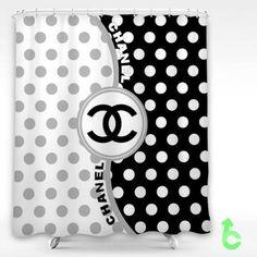 Chanel Black Gray Dot Shower Curtain