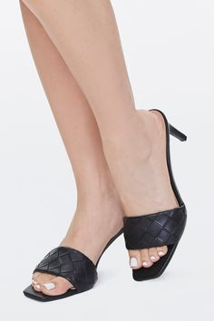 Limited Supply Braided Square-Toe Heels in Black, Size 10 #shoes #fashions High Heels Stilettos, Black Heels, Forever 21 Shoes, Shoe Sale, Leather Heels, Open Toe, Heeled Mules, Kitten Heels, Shoes Women