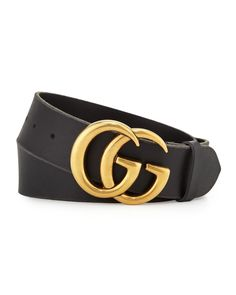 0dbbe5e6be6 Gucci Mens Leather Belt with Double-G Buckle