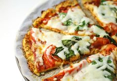 Margherita Pizza with Cauliflower crust, This is seriously, hands down, the best pizza I've ever had that's gluten free!