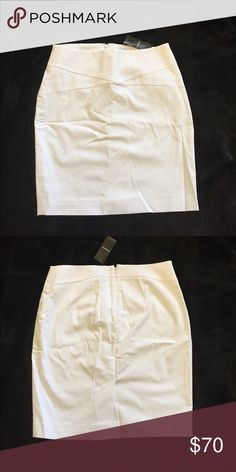 BEBE White Skirt New white BEBE skirt. Has a slip underneath. Zips in the back and has a slit in the back. Never been worn. bebe Skirts Pencil
