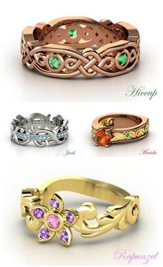 The Big Four character rings.  I like the silver and blue on Jack's, and the celtic-y design on Hiccup's.