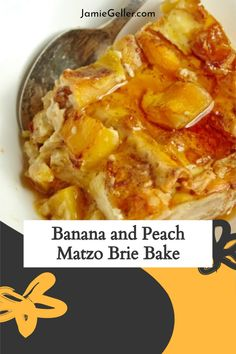 This creamy Peach and Banana Matzo Brie Bake – can be assembled the night before, when you have all the energy in the world to think about the morning meal. Just pop it in the oven when you wake up (after snoozing) and by the time everyone is washed and dressed you have a piping hot, creamy, sweet, fabulous, start-the-day-off-right, kinda meal. #passover #matzo #dessert Savory Breakfast, Breakfast Dessert, Breakfast Recipes, Dessert Recipes, Passover Desserts, Passover Recipes, Food Terms, Cooking For A Crowd, Banana Slice