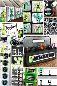 "Use this farmhouse CACTUS theme to create your ""home away from home."" This FUN decoration bundle with cover all your decorating needs, including bulletin boards, word walls, alphabet posters, and more. They are printable and perfect for any teacher. This cactus classroom decor is rich with charm! It is full of galvanized metal, shiplap, wood grains, chalkboards, lanterns, string lights, and beautiful cactus watercolors. #HollieGriffithTeaches #ClassroomDecor #ClassroomFun #FarmhouseFlair #Cactus"