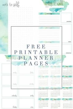 Free Watercolor Printable Planner Pages from The Crazy Craft Lady