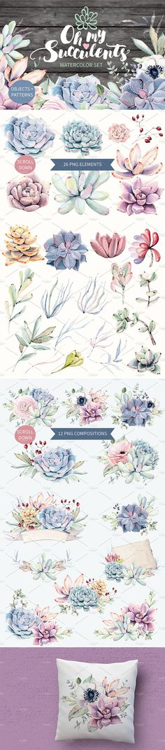This is a set of high quality hand painted watercolor succulents images in pastel shades. It's perfect for greeting cards, posters, wedding invitations, valentines cards, wrapping paper, and scrapbooking design.