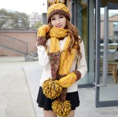 Hairball knit womens hat scarf and glove set for winter thick design